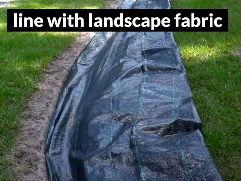 Line the french drain trench with landscape fabric