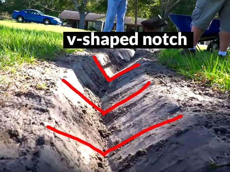 V-notch french drain trench