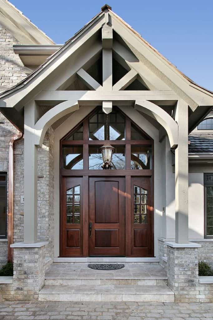 Rounded Wooden Door with Architectural roof