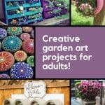 Grid with a variety of colorful garden art projects for adults