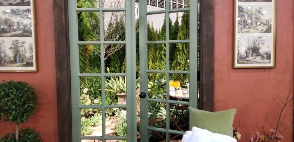 Outdoor garden room door and walls