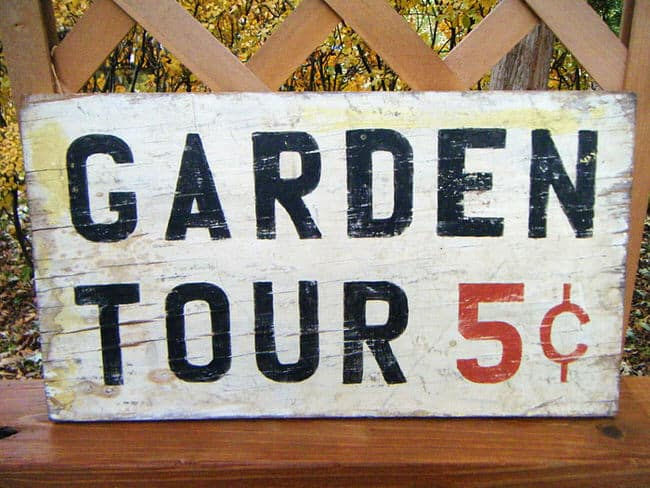 Tin Garden Tours 5 Cents Sign