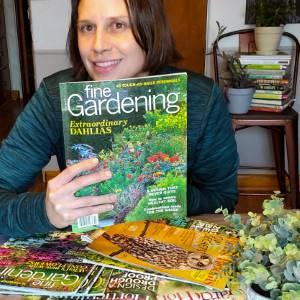 Amy reading Fine Gardening magazine