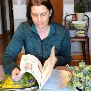 Amy reading Horticulture Magazine