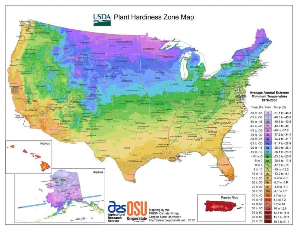 USDA Gardening Hardiness Zone Map