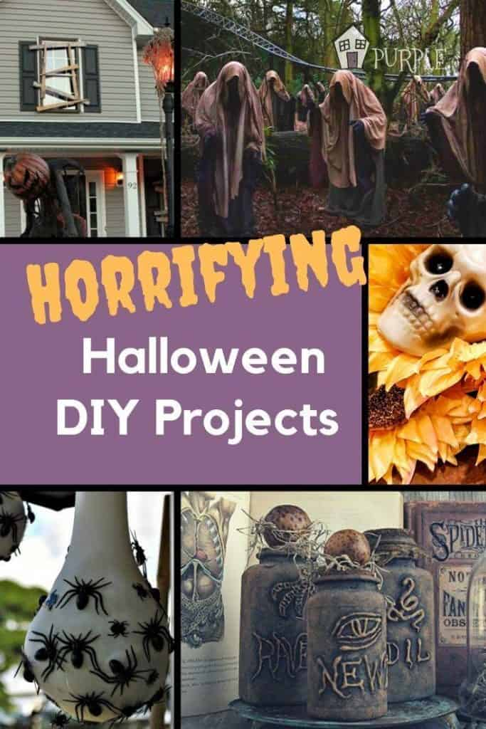 Collage of Halloween DIY Projects with text Horrifying Halloween DIY Projects