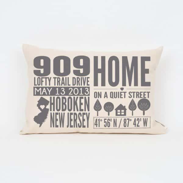 Address Throw Pillow Housewarming Gift