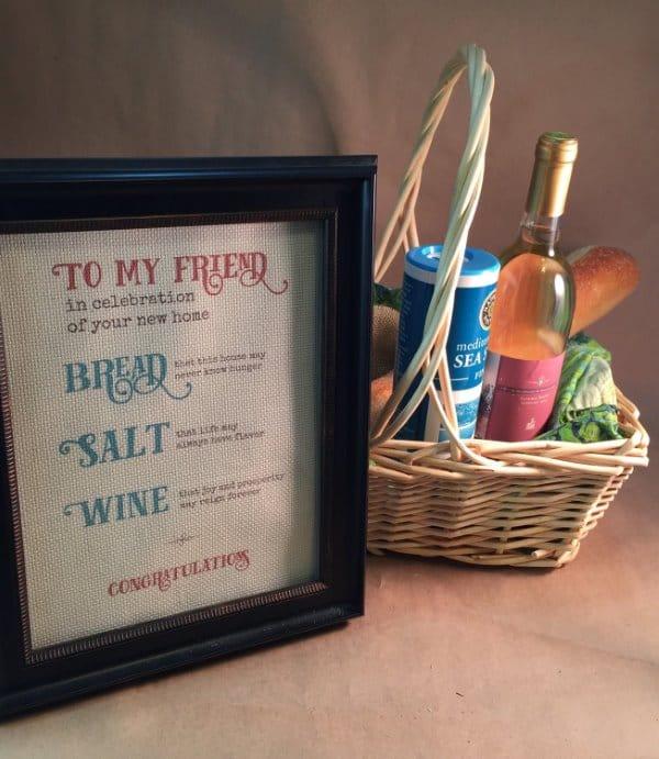 Bread Salt Wine Housewarming Gift Basket
