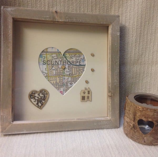 Framed Map with Heart Housewarming Gift