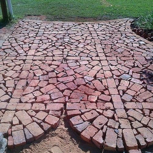 Reclaimed brick patio mosaic pattern