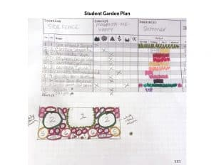 Student garden plan and drawing