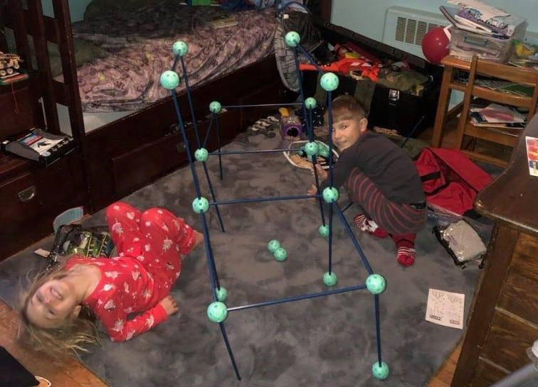 Kids building a fort together