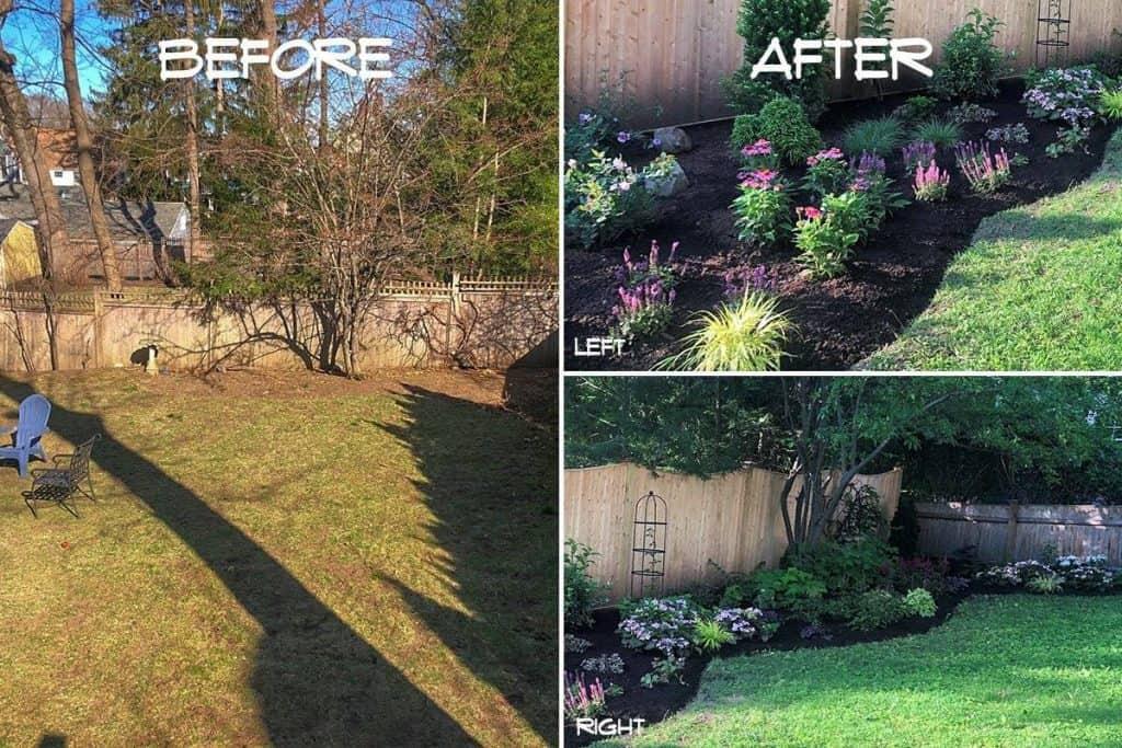 Backyard landscape design - before & after