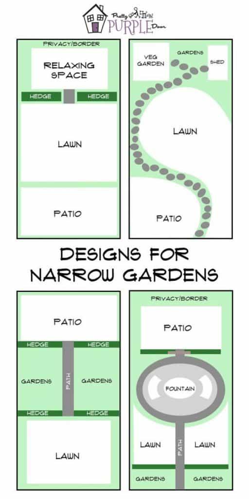 Narrow garden design layouts