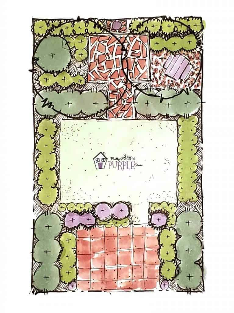 Hand illustrated narrow garden design layout with large lawn