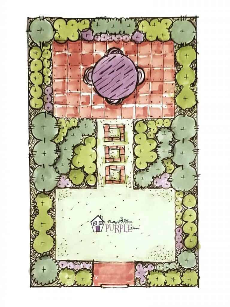 Hand illustrated narrow garden design layout with long pathway