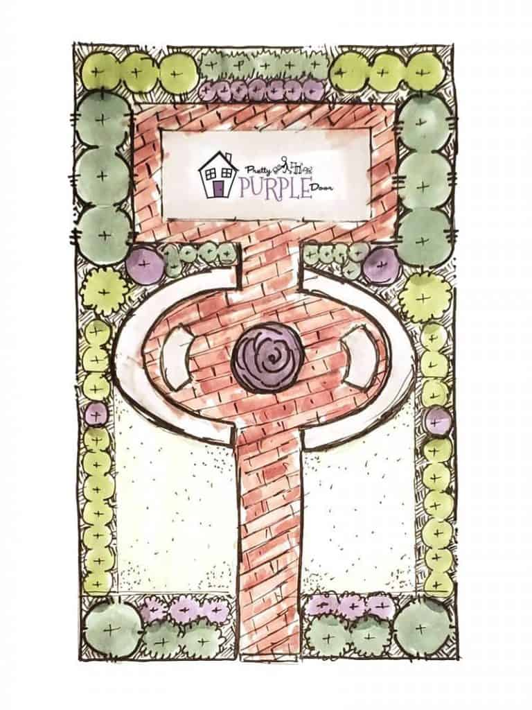 Hand illustrated narrow garden design layout with fountain in center