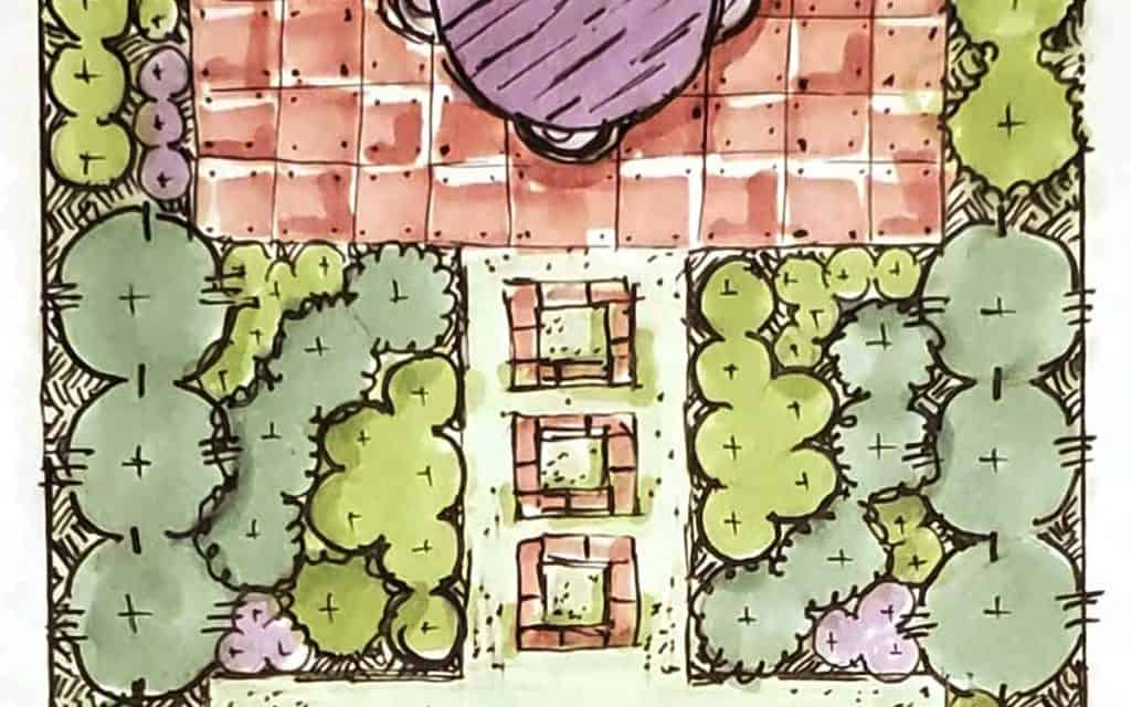 Hand Illustration of a brick patio and garden planting