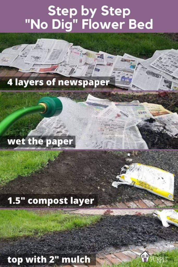 Step by step NO DIG flower bed Pinterest image