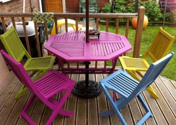 Painted garden table chairs