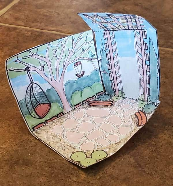 Pop up garden room from printed paper template
