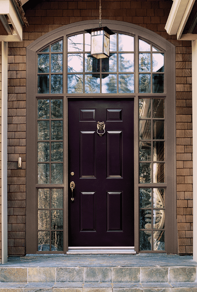 This purple door is so dark that it almost appears to be black.