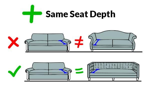 Furniture with matching seat depth