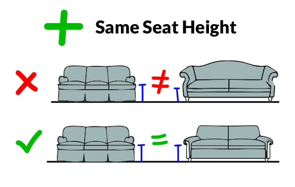 Furniture with matching seat height
