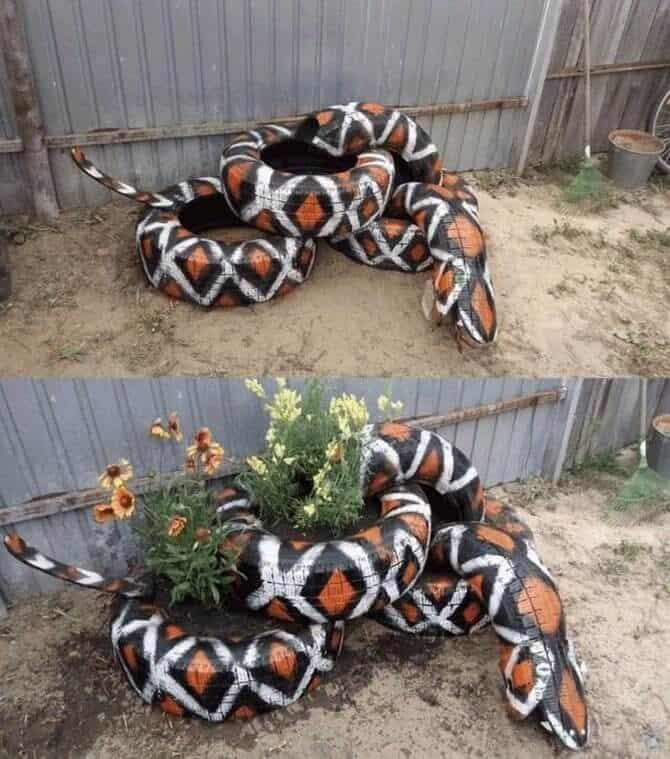 Snake Tire Planter
