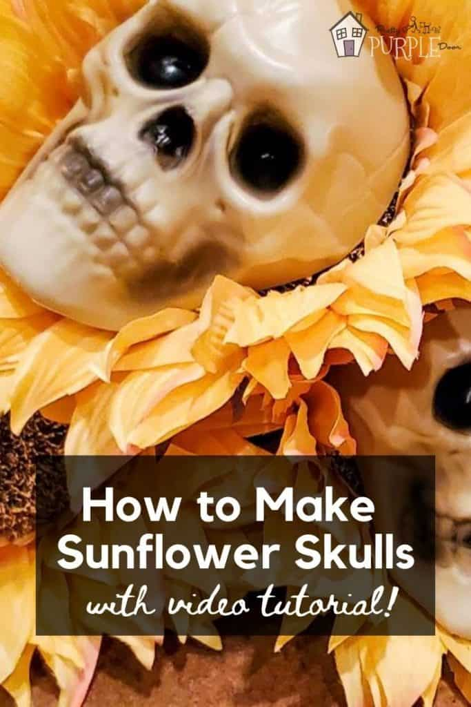 Closeup of plastic skulls glued onto sunflowers with text