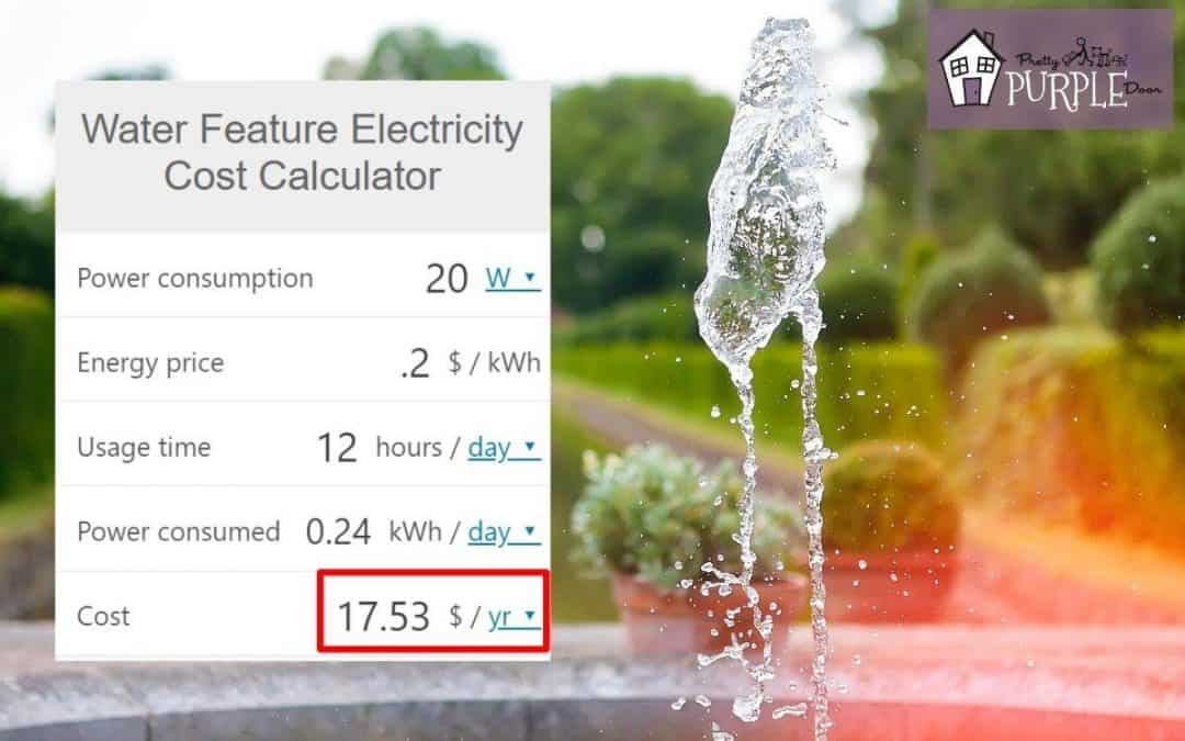 Water feature electricity cost calculator