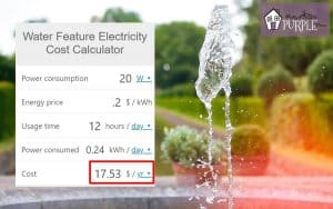 water fountain and calculator giving electricity cost per year